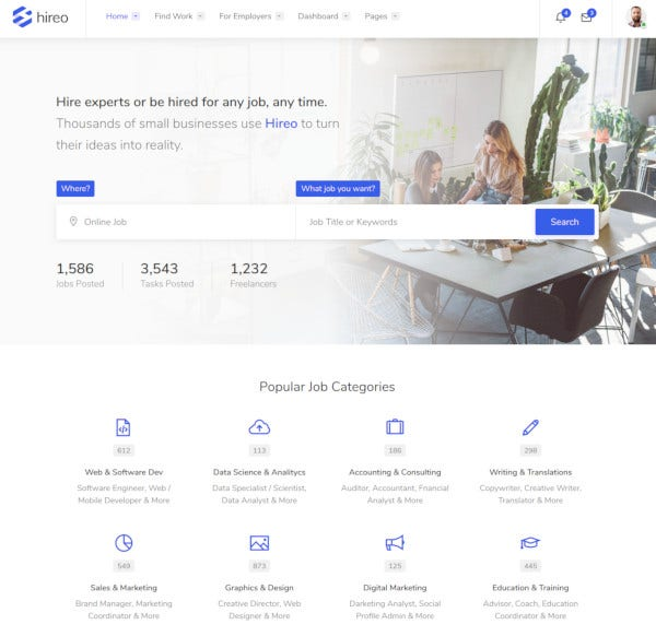business freelance services marketplace html template
