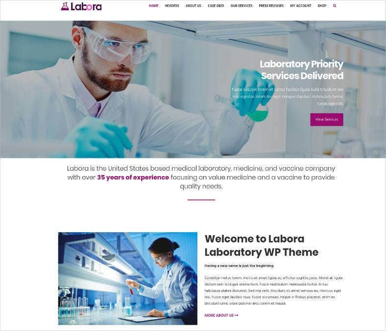 business laboratory pharmaceutical wordpress theme 788x677