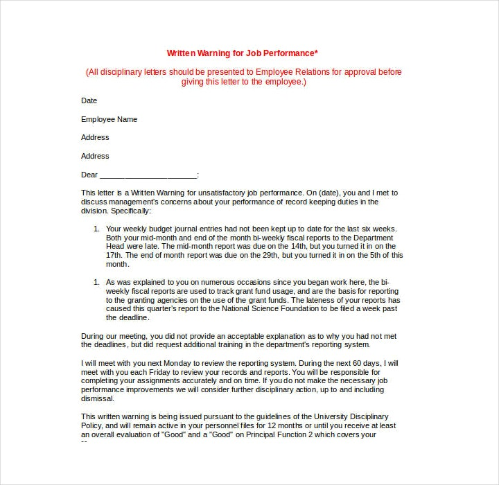 Business Warning Letter Format for Job Performance