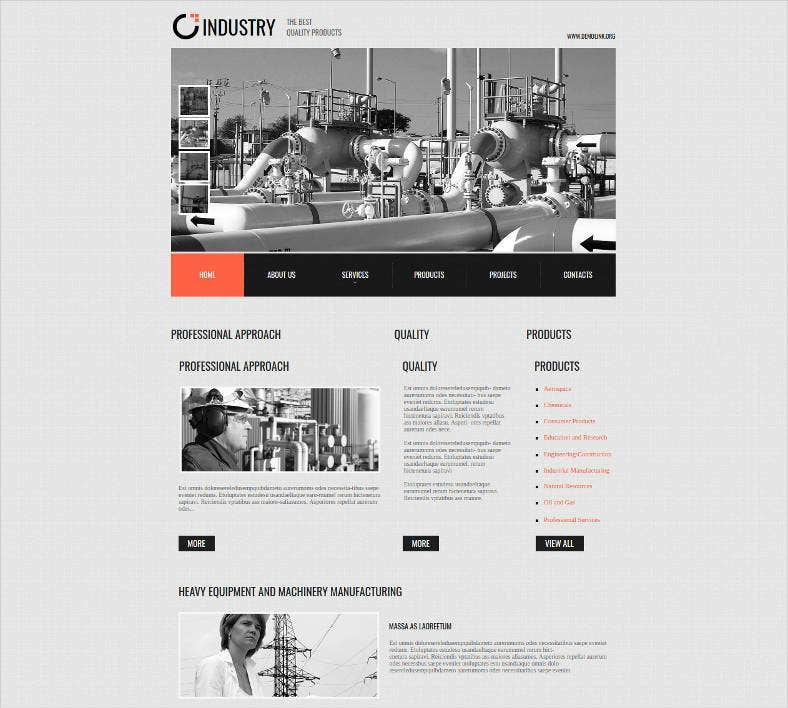 cms website template for industrial businesses 788x708