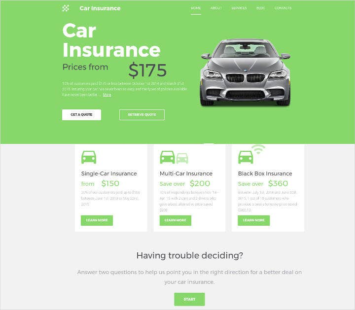 car insurance responsive website template