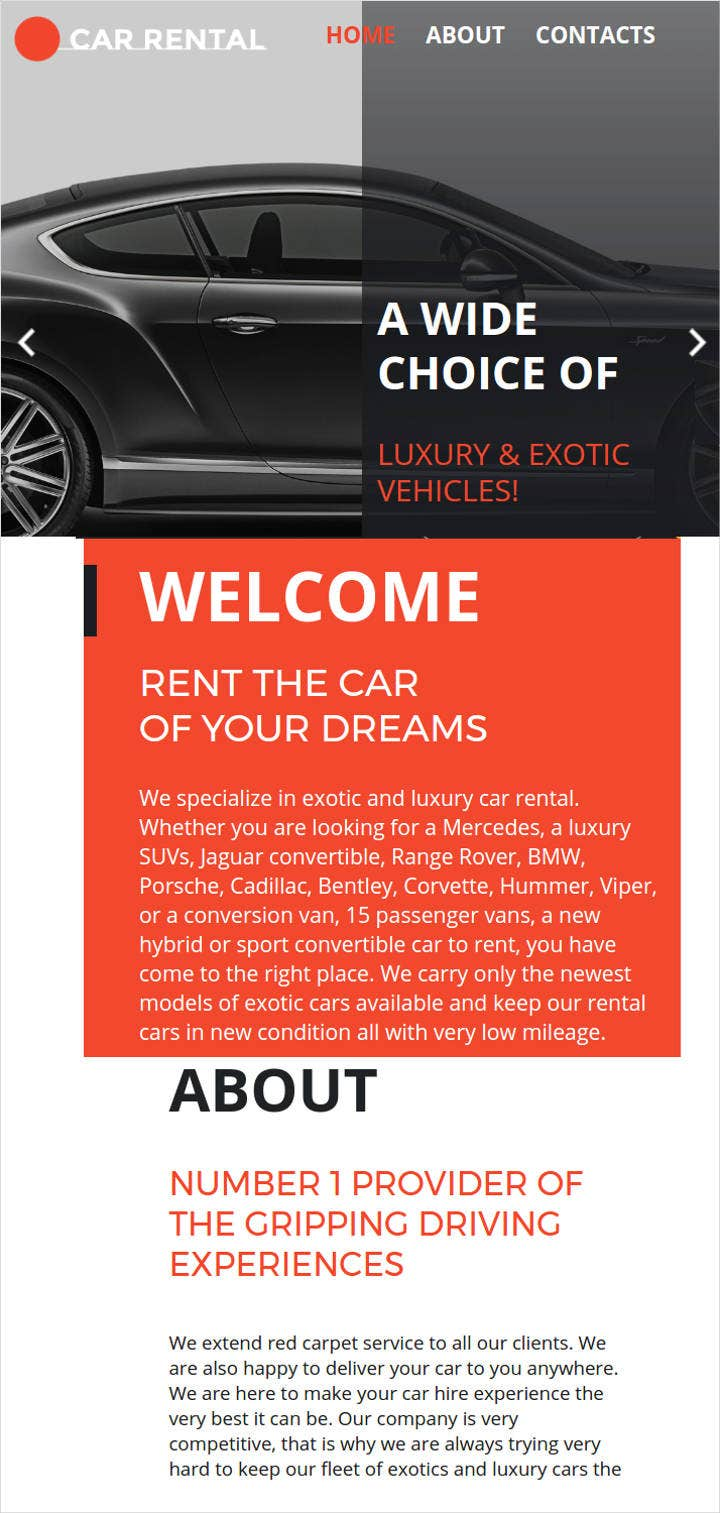 car rental html html website template
