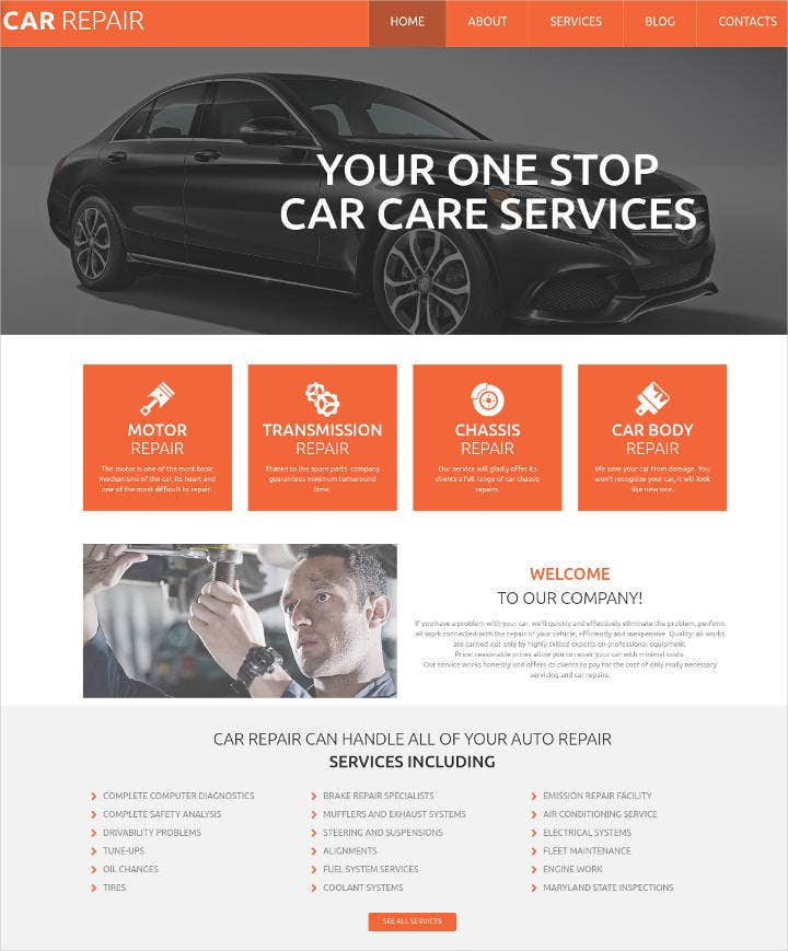 car repair responsive motocms template