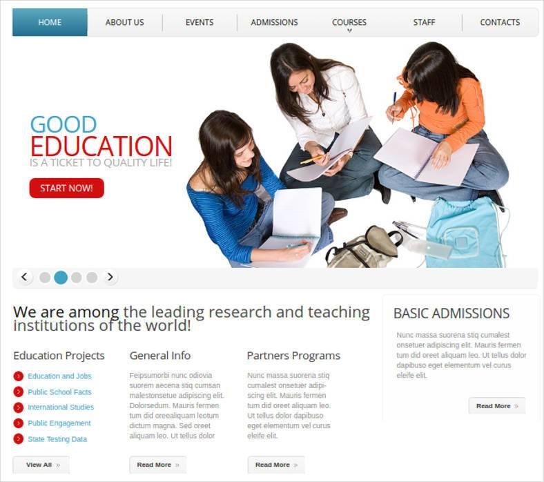 career education website template 788x698