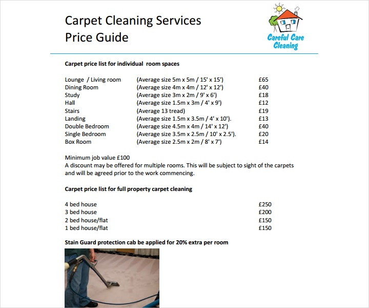 8+ Cleaning Price List Templates - Free Word, PDF, Excel