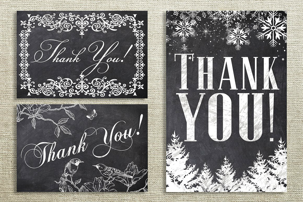 chalk printable thank you cards