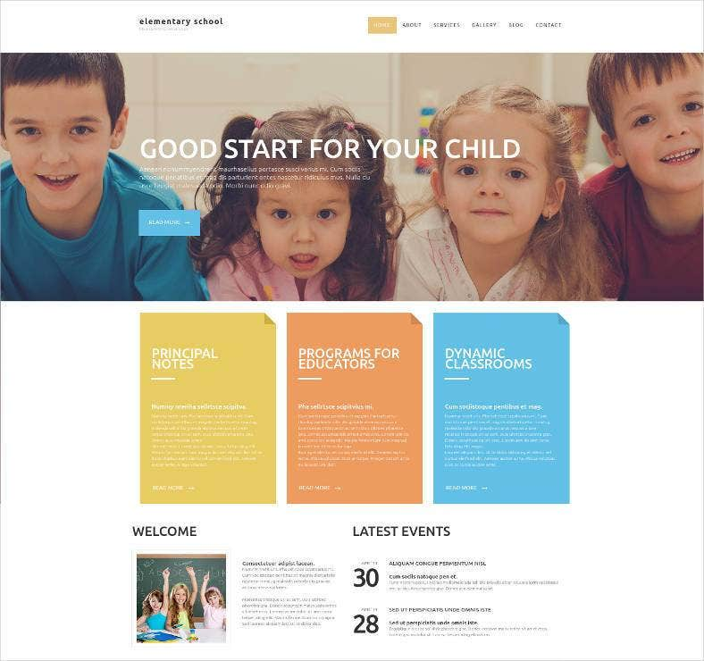 children education website template 788x740