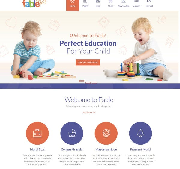 children kindergarten wordpress theme