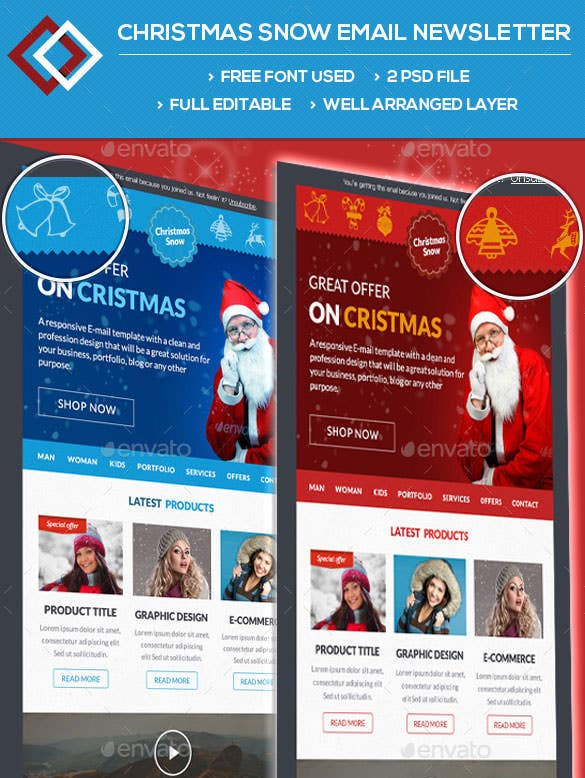 christmas snow email newsletters photoshop psd download