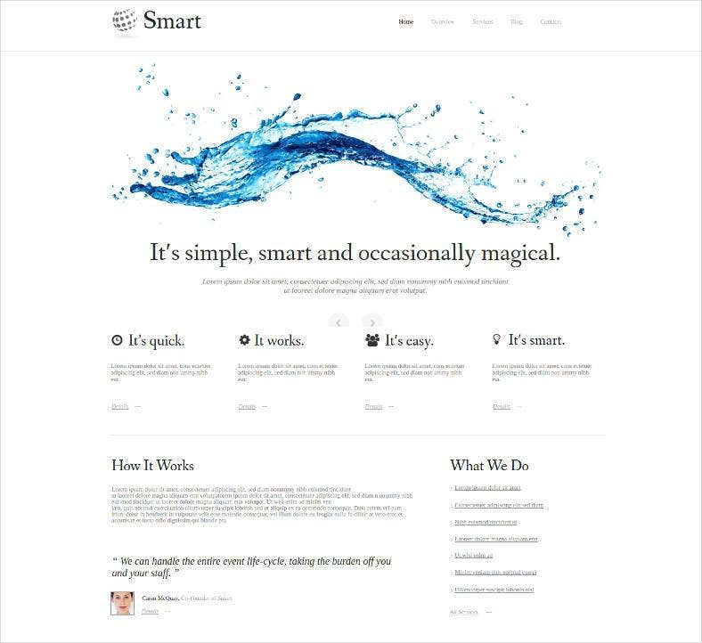clean water website template 788x722