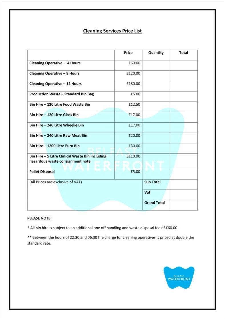 8  cleaning price list templates