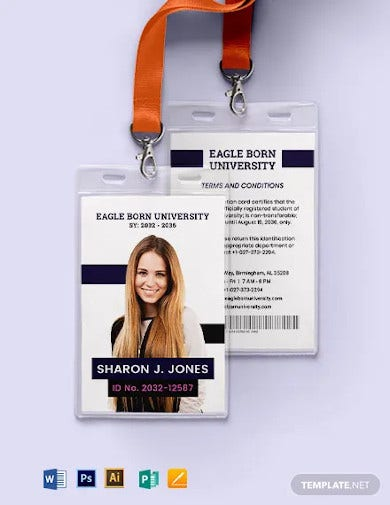 college student id card template