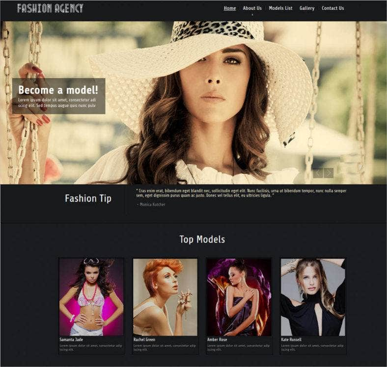 colorful model agency website template 788x748