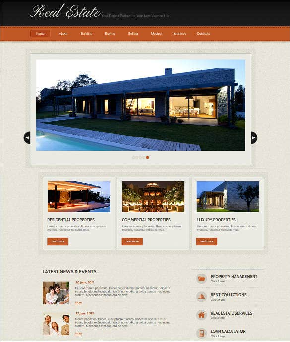 colorful real estate website template