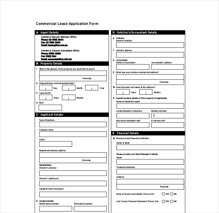 Commercial Building Lease Application Form