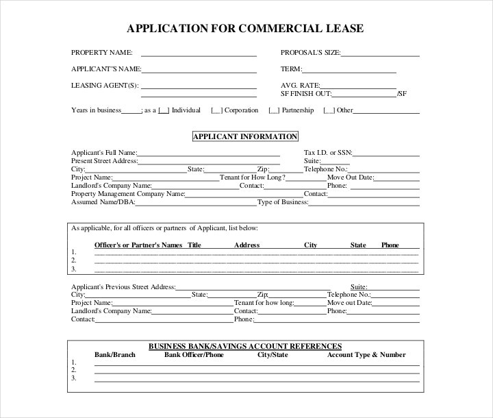 Commercial Lease Agreement Application