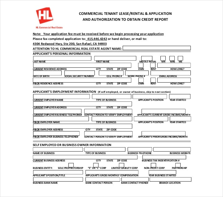 Commercial Lease Credit Application Form