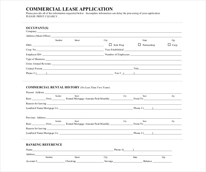 Commercial Property Lease Application Sample