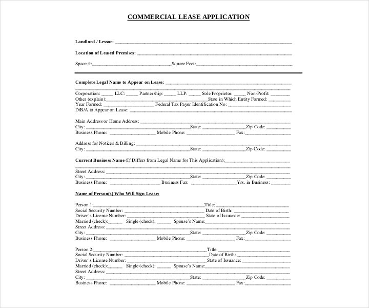 Commercial Real Estate Lease Application Form