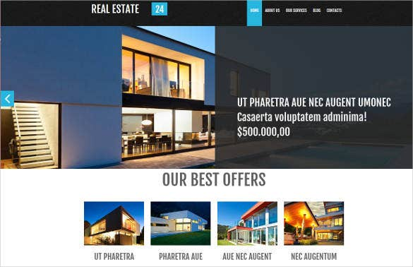 company real estate website design theme