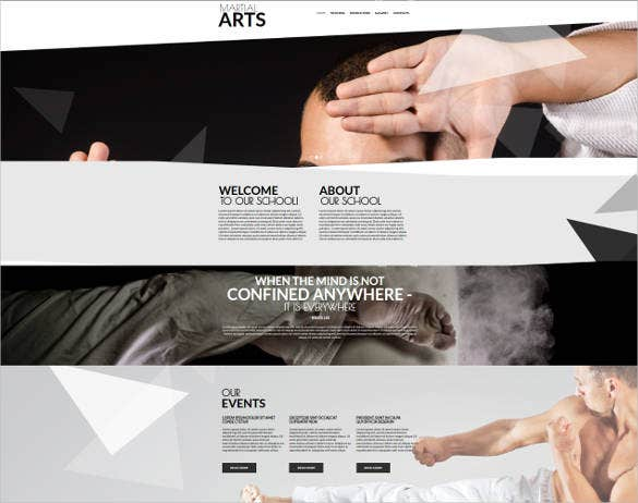 creative design for martial arts website