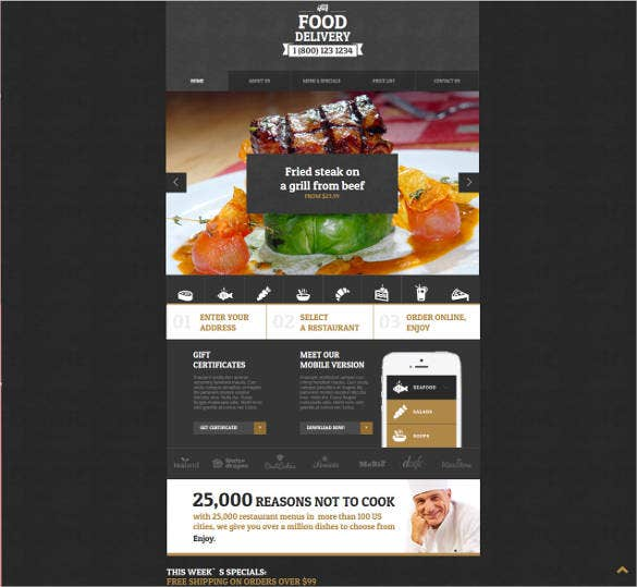 creative food delivery website design