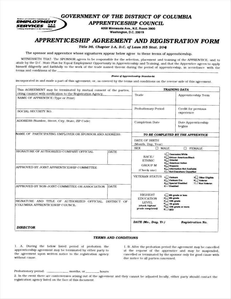 9 apprenticeship application form templates free word for Apprenticeship contract template