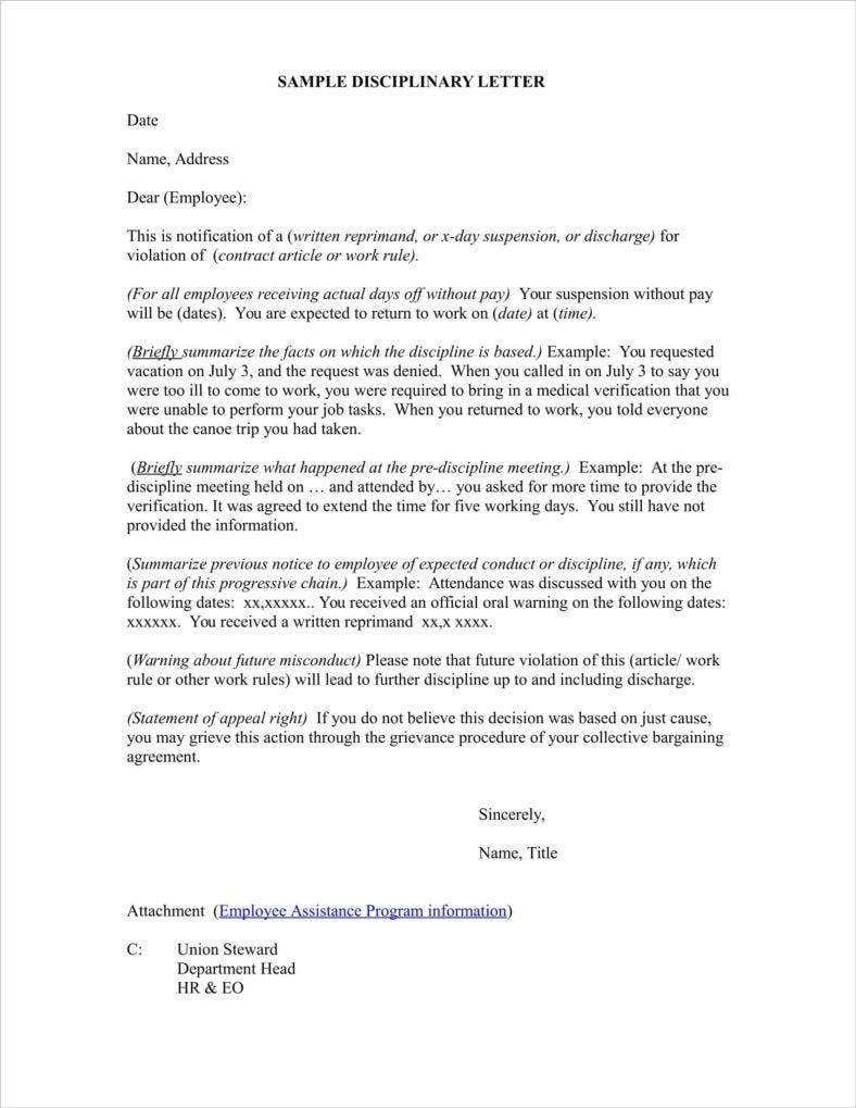 absence disciplinary warning letter template