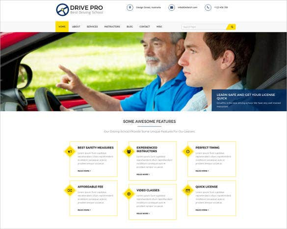 drive pro driving school wp theme