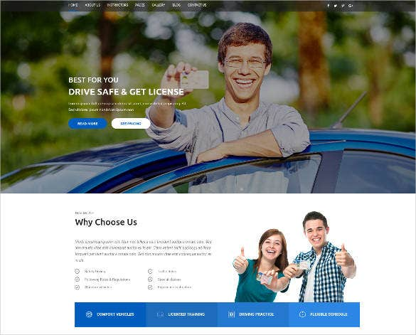 driving school category html website template