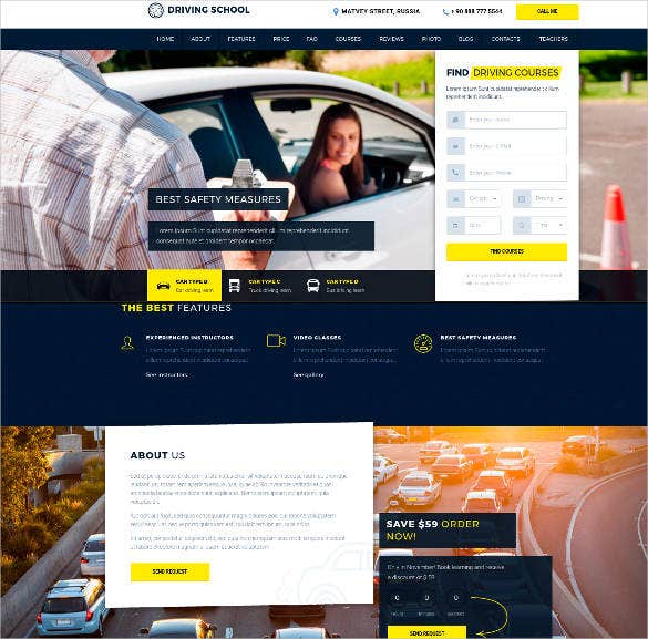 driving school responsive html theme