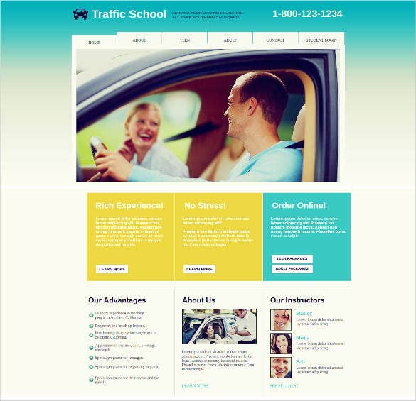 driving school website theme template
