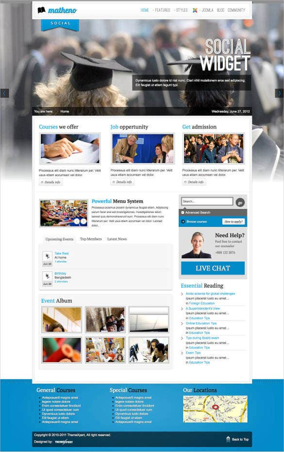 education joomla website template