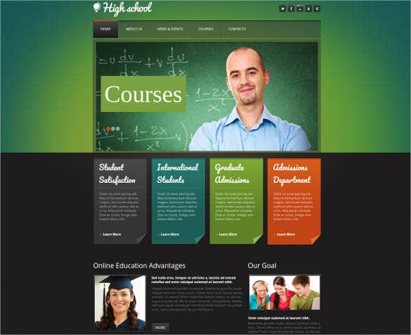 education website template for high school
