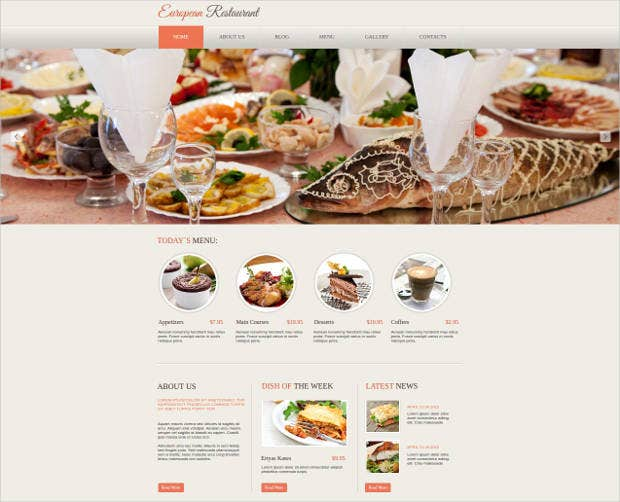 elegant website design for european restaurant