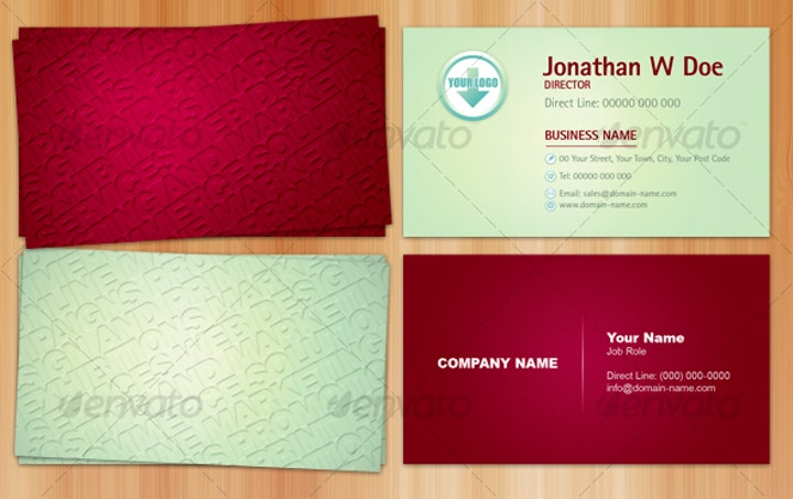 embossed effect business card