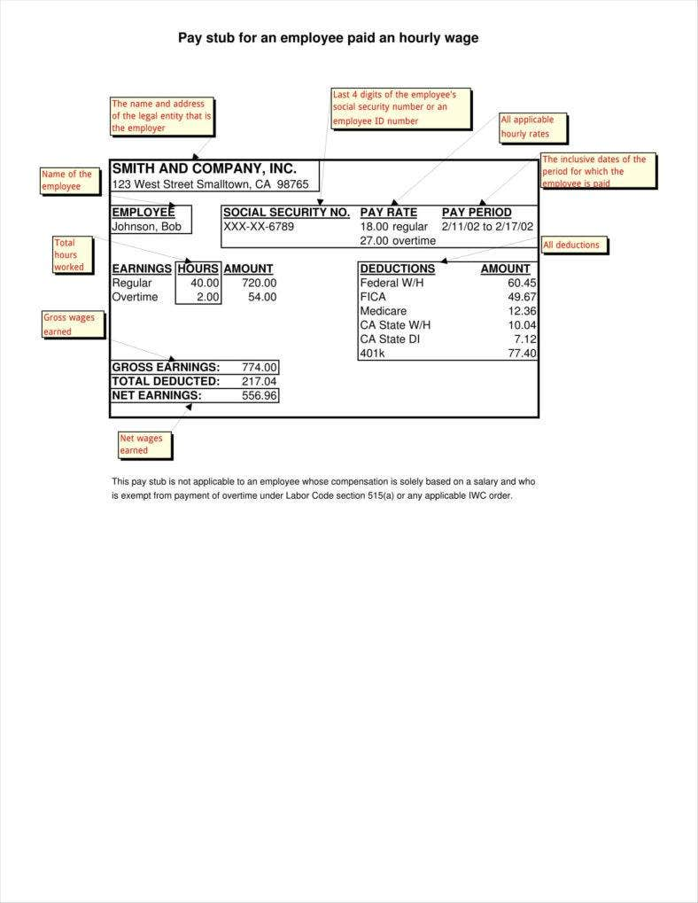 9 blank pay stub templates free pdf doc format for Employee earnings record template