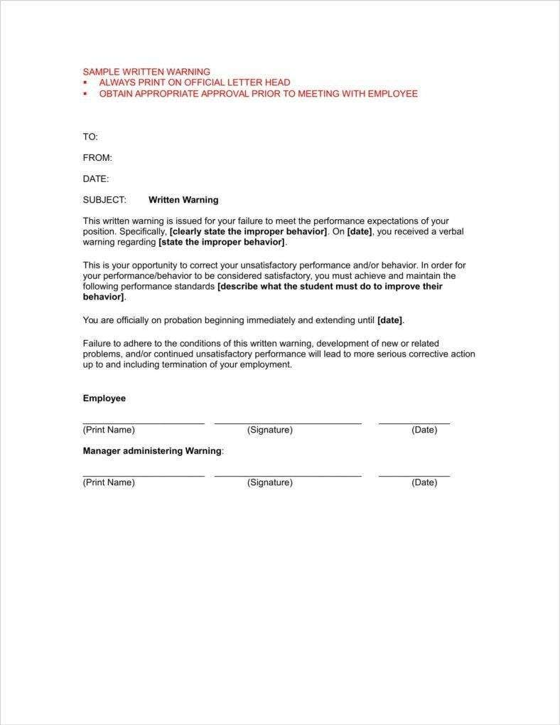First And Second Warning Letter Templates  Free Pdf Word Excel