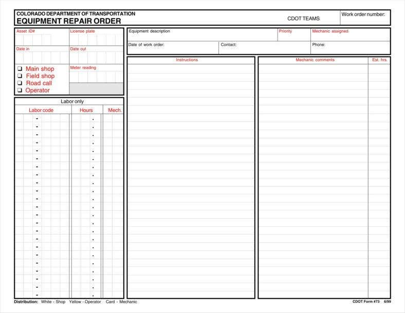 9 Equipment Order Form Templates Free Pdf Excel Format Download