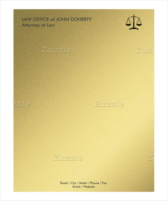 example law office letterhead format