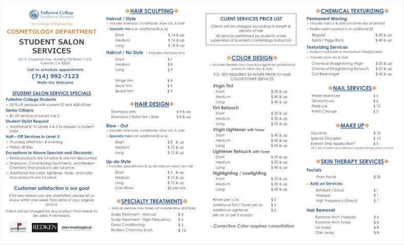 Student Salon Service Price List Template