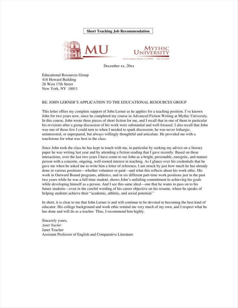 professor recommendation letter sample