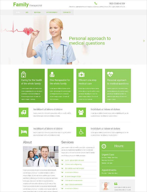 family care clinic website template