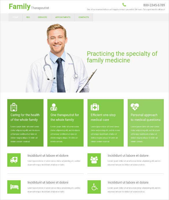 family medical care clinic website template