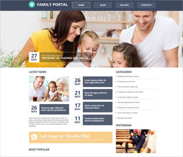 family portal website design