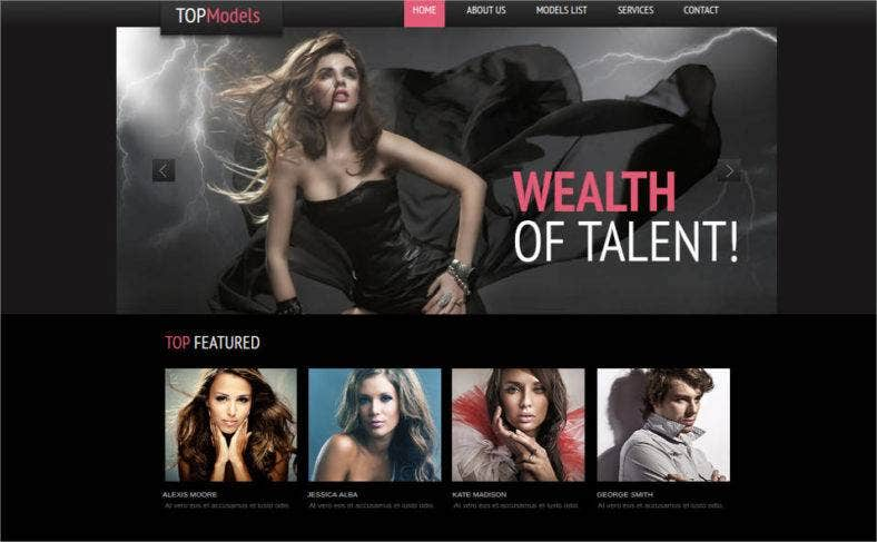 fashion website template for model agencies 788x487