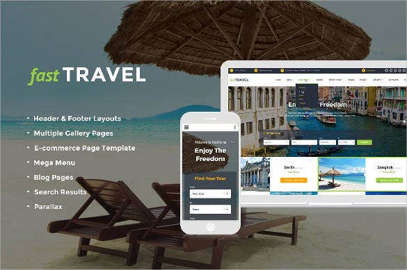 fast travel agency website template