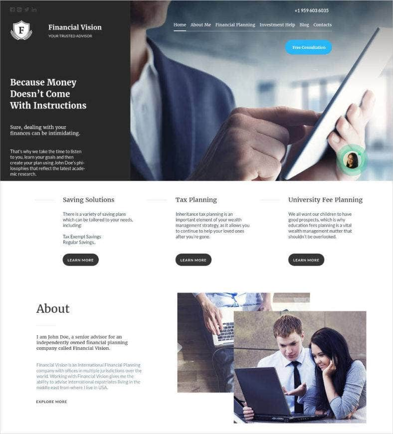 financial advisor website design 788x871