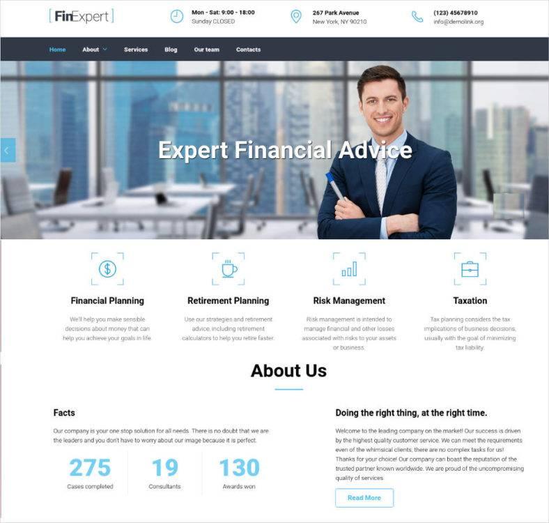 17 best financial advisor website templates