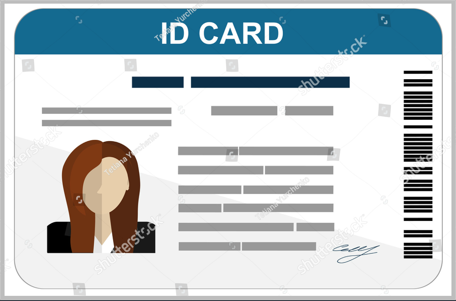 Flat Design ID Card Template  Membership Id Card Template
